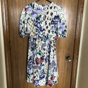 Vintage Flowered Two-Piece Dress Set